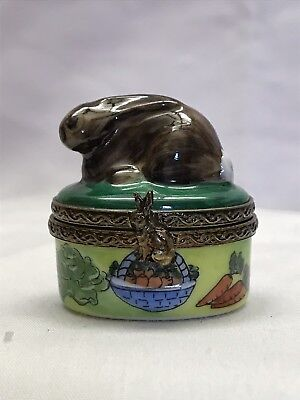 Limoges Hand Painted Rabbit Miniature Trinket Box La Vie En Rose - France for sale  Corpus Christi