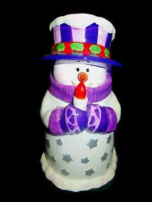 LightUp Snowman XMAS Ceramic Cookie Jar, Purple & White Glitter Houston Harvest