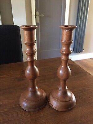 Pair Of Vintage Wooden Candlesticks