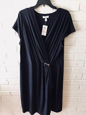 New Charter Club Woman's Cap Sleeve Faux Wrap Jersey Knit Dress   Navy  2X  (Club Womens Cap Sleeve T-shirt)
