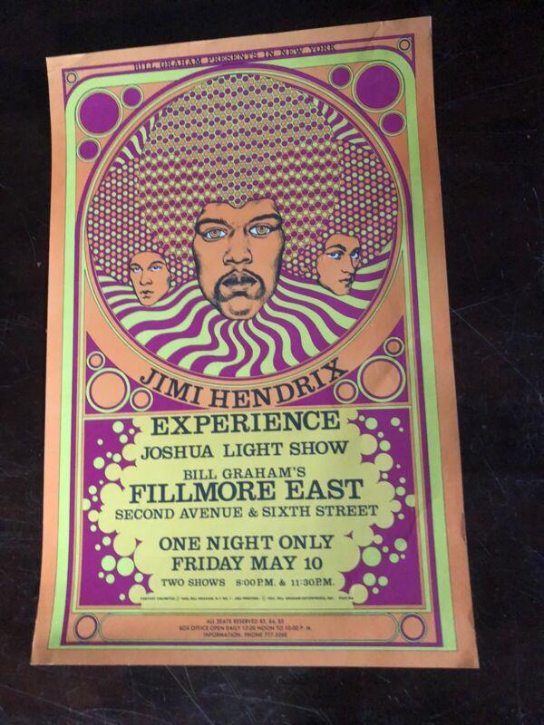 Jimi Hendrix Bill Graham Poster Fillmore Second Printing BG-FE7