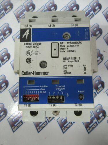 Cutler Hammer W200M3CFC Starter, Advantage Size 3, 90 Amp, 120 Volt Coil -S290