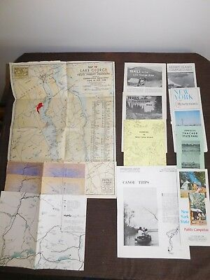 VINTAGE NEW YORK CAMPSITES HIKING TRAILS CANOE TRIPS LAKE GEORGE BROCHURE LOT