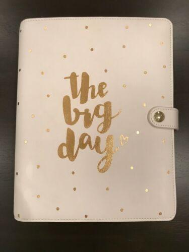 "Kikki K ""the big day""Leather Wedding Planner Organizer White Gold 6 Ring Binder"