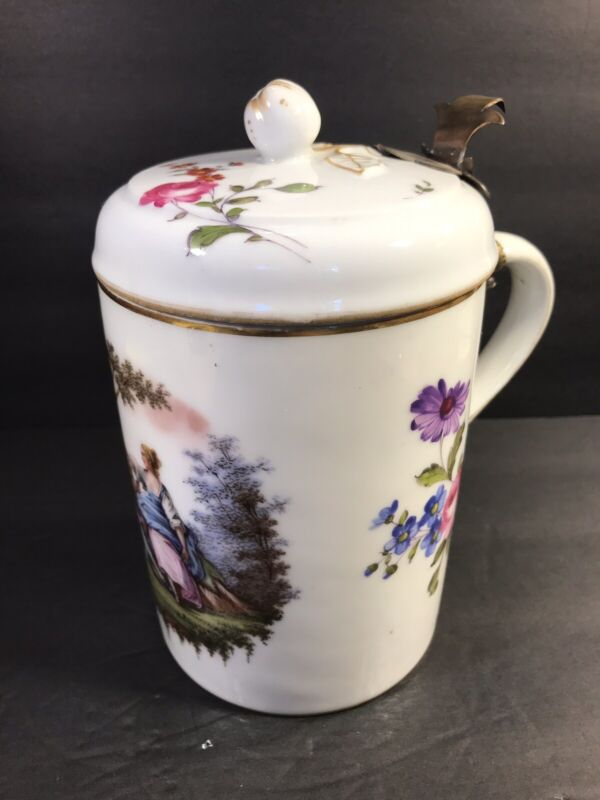Antique German Porcelain Beer Stein/ Tankard/ Blue Cross Lines/ Germany C.1900