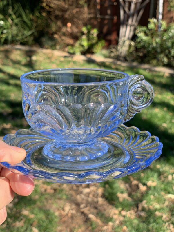 CAMBRIDGE CAPRICE MOONLIGHT BLUE GLASS FOOTED CUP & SAUCER Excellent Condition