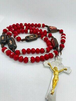 Rosario a la PRECIOSA SANGRE DE CRISTO de cristal ROJO SANGRE  y (Rosario De La Preciosa Sangre De Cristo)