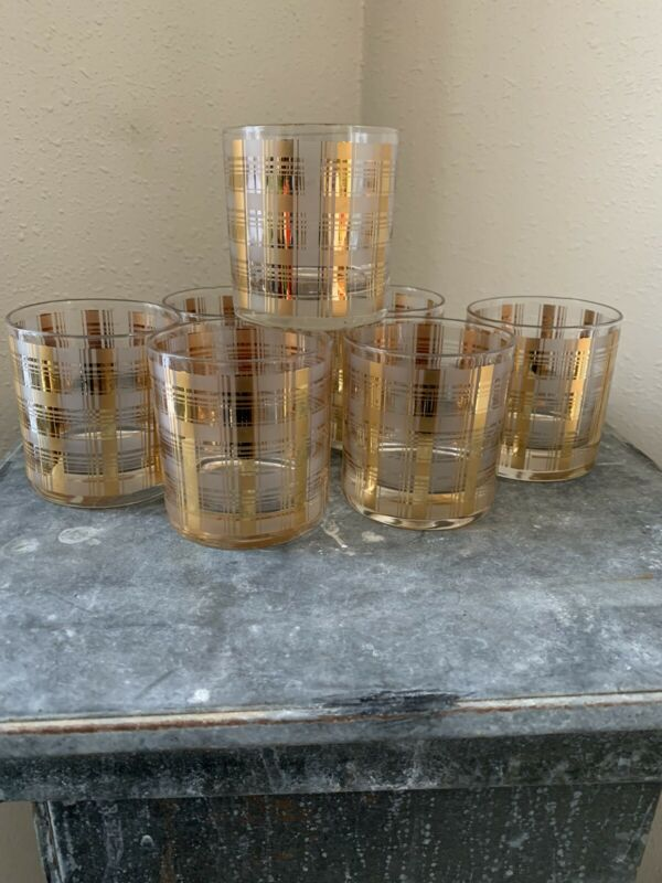 7 MCM Culver Ltd 22K Gold Plaid Double Old Fashioned Glasses Tumblers Barware