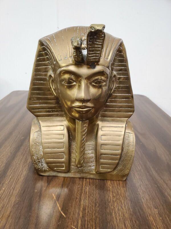 "Vintage Large Brass Egyptian King Tutankhamun Bust Statue Figure 9.5"" heavy!"