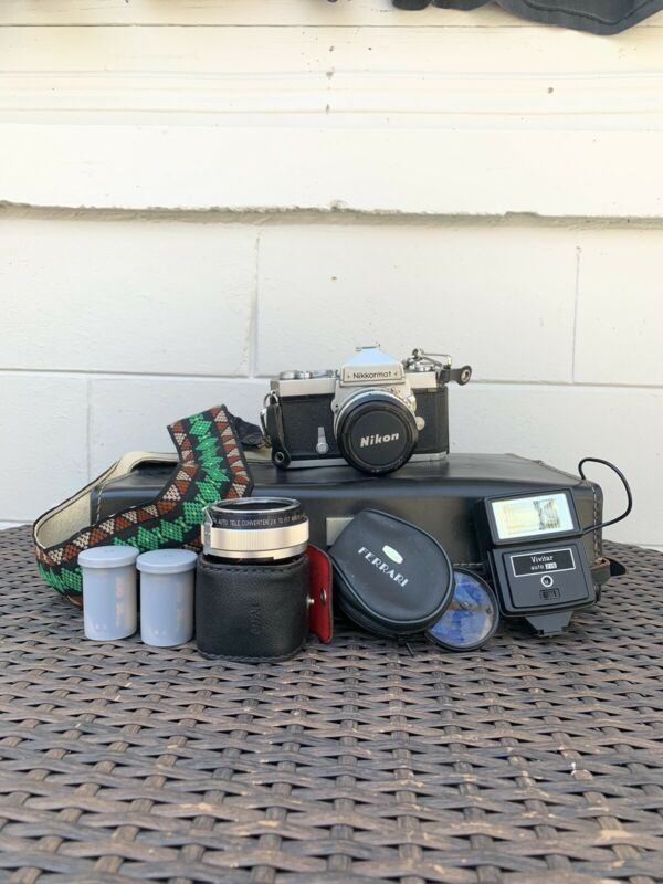 Vintage Nikon Nikkormat Untested Camera with 1:18 50mm Nikon Lens and Extras