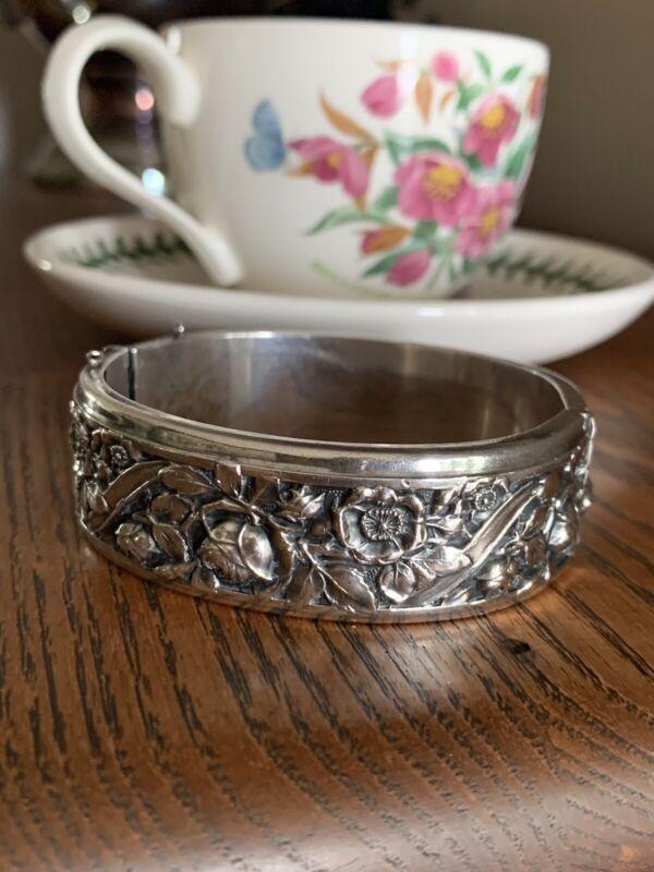 HEAVY Antique Floral FRENCH Art Nouveau 57g Solid SILVER Rose Bracelet Bangle