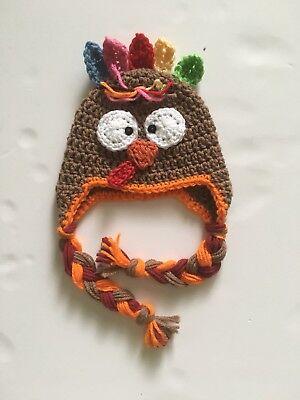 a5dddc78f1e Baby Crochet Thanksgiving Turkey Handmade Hat Newborn SoftCap Beanie Hat  (0-3m) -
