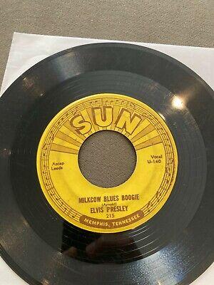 ELVIS PRESLEY SUN 215 45 Milkcow Blues Boogie/You're a Heartbreaker PUSH MARKS