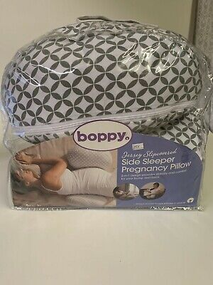 Boppy Side Sleeper Pregnancy Maternity Pillow Gray and White Jersey Cover