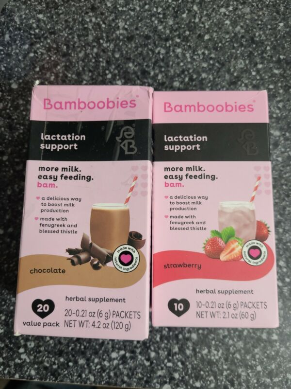 Bamboobies Lactation Support Drink Mix Breastfeeding Supplement Strawberry&choco