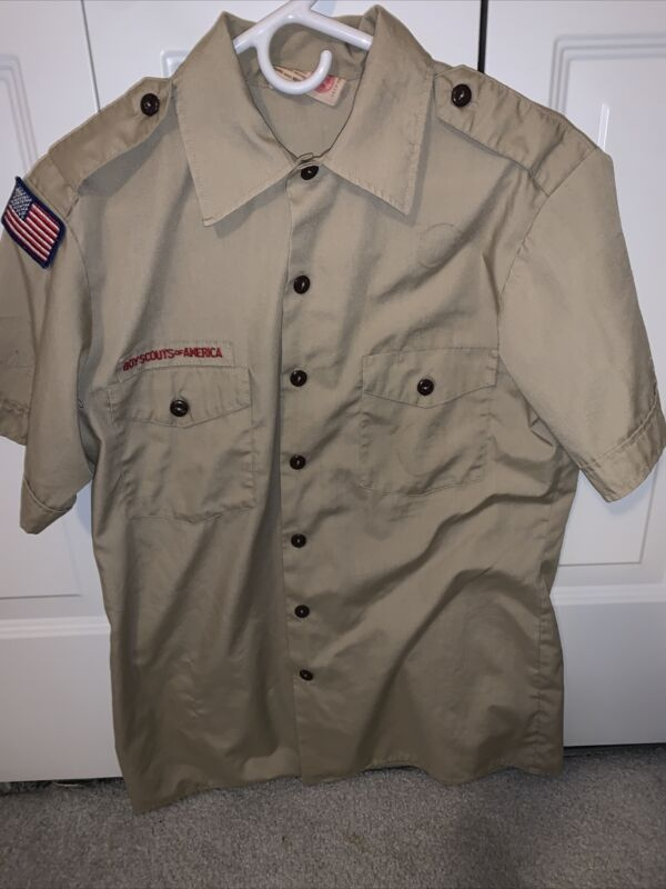 Boy Scout BSA UNIFORM SHIRT  Men's  Medium Short Sleeve Tan L41