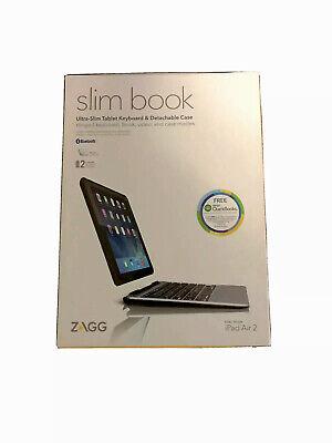 Zagg Slim Book Hinged w/ Detachable Bluetooth Keyboard for Apple iPad Air 2