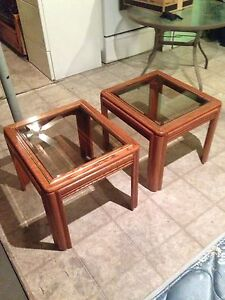 2 Wooden Glass Top End tables