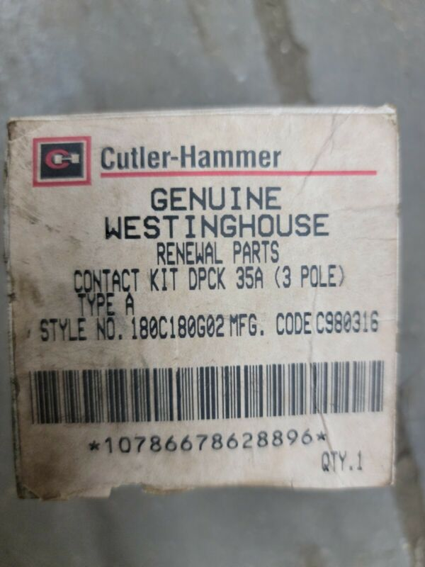 CUTLER HAMMER -- 180C180G02  Contact Kit DPCK 35A 3-Pole Type A -- GENUINE