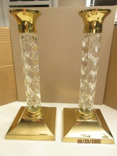 """PAIR OF WATERFORD """"CAMBRIDGE"""";  CRYSTAL/BRASS MARKED CANDLE HOLDERS, 11 INCH"""