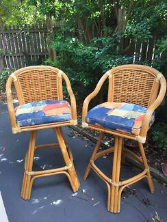 2 x top quality swivel Cane stools