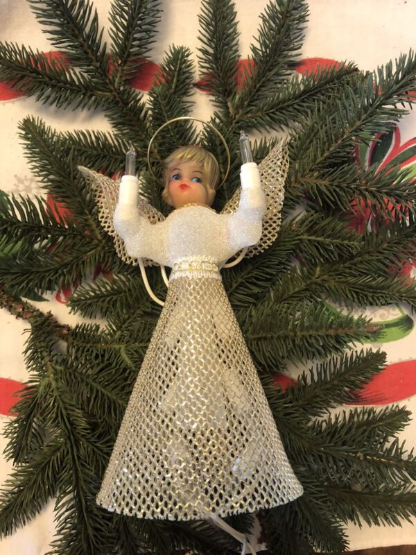 Vintage Retro Christmas Angel Tree Topper Gold Dress & Wings Lighted Works!