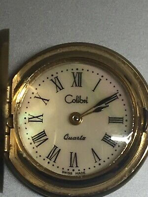 "colibri quartz pocket watch chain watch vintage gold tone 16.5"" total"