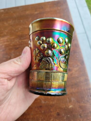 Wow Amethyst Northwood Carnival Glass Raspberry Signed Tumbler
