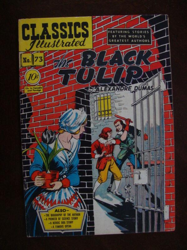 Classics Illustrated #73 1st ED VG+ The Black Tulip