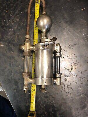 Antique Nathan Mfg Lubricator Nickel Glass Oiler Hit Miss Steam Engine Steampunk