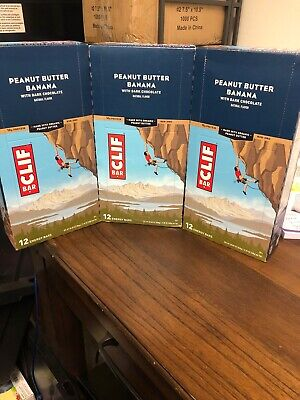 CLIF BAR PEANUT BUTTER BANANA  3 Boxes Of 12- 36 Bars Total BEST BY (Best Protein Meal Replacement Bars)