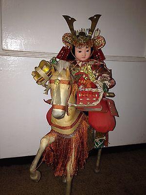 Antique Musha Boy Samurai doll on Horseback