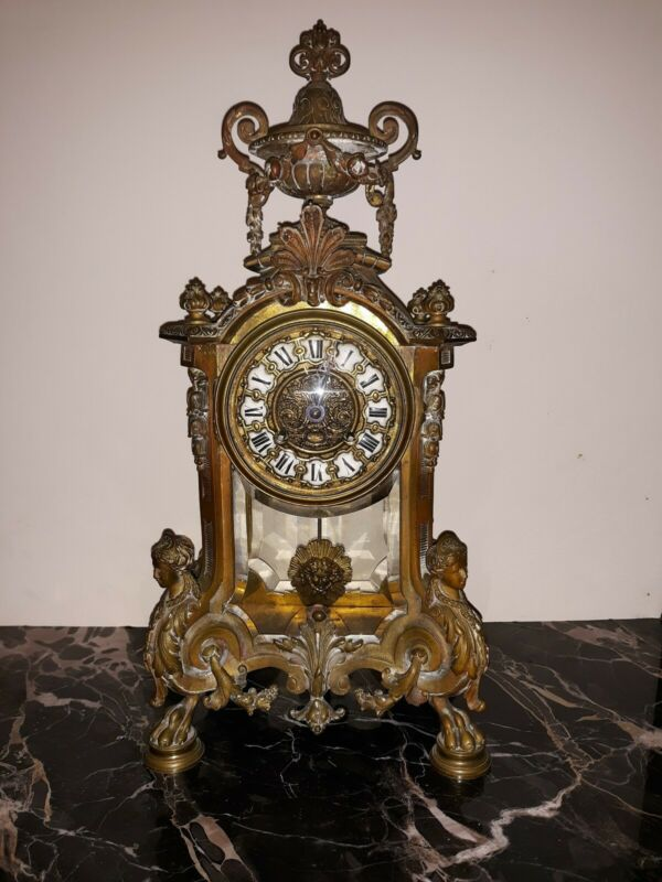 """Antique TIFFANY AND CO Bronze mantle Clock JAPY FRERES 16 1/4"""" claw foot figural"""