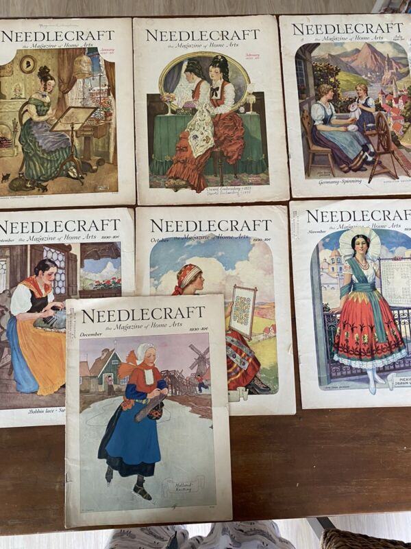 Needlecraft Magazine 1930 Issues #7 Total Great Vintage Graphics