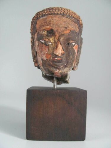 Mounted Antique Terracotta Buddha Head from Thailand