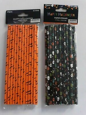 Halloween Paper Straws (Halloween party themed  Orange & Black paper straws 2 packs of 25,24,bats)