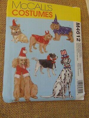 McCalls Dog Costumes Sewing Pattern #4612 Santa Dracula Uncle Sam+ Sz S-L UC