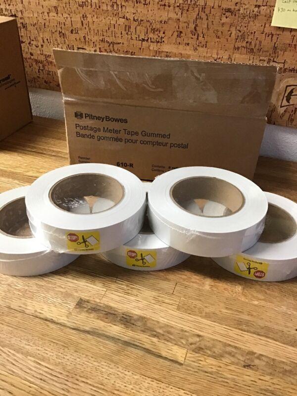 Genuine Pitney Bowes 610-R Postage Meter Tape - 5 Rolls Gummed Tape