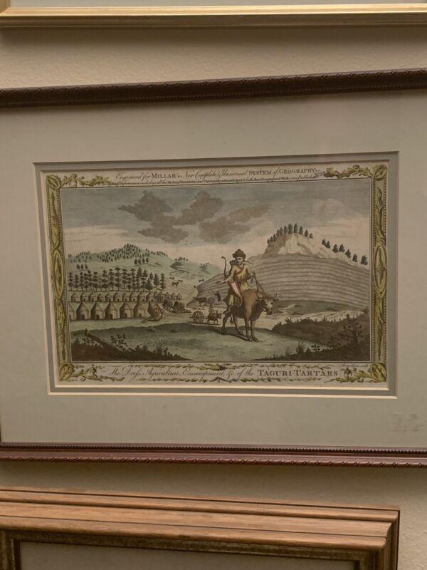 TAGURI-TARTARS 1782  ANTIQUE ENGRAVED COLORED ETCHING