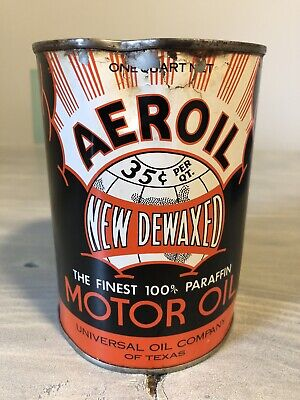 Vintage Aeroil Oil Can Quart Metal Texas Oil Can Gas Oil Soda