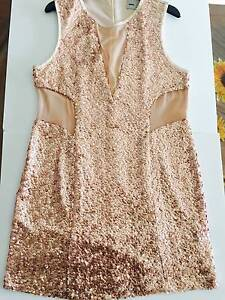 Asos sze 18 Rose gold sequin nude mesh mini evening party dress Airport West Moonee Valley Preview