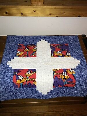 Estate Blue & White with Road Runner Pieced & Quilted Tapestry Wall Hanging - 24