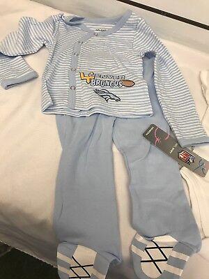 NFL Baby Denver Broncos 3pc Outfit Infant 9 Months Shirt Pants Bodysuit - Broncos Outfit