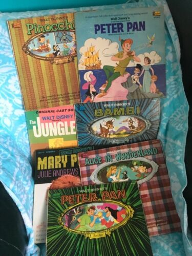 1960's Walt Disney Records & Book Albums Lot Of 8 Peter Pan, Bambi, Mary Poppins