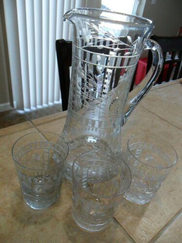 BEAUTIFUL GLASS PITCHER & 3 TUMBLES GRAY ETCH CUT LATTICE, FLORAL, LEAVES 1910?
