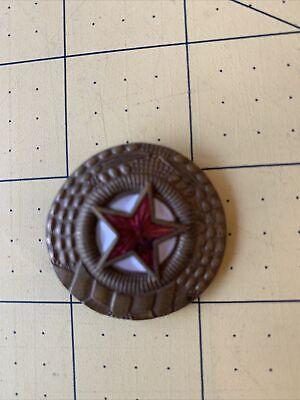 1950's North Korea Visor Cap Badge Cockade Enameled Red Star