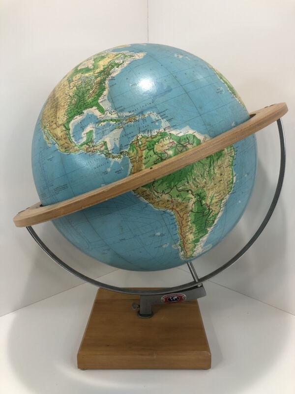 "VTG 1964 Denoyer Geppert Cartocraft 16""  Vanguard Globe Physical Political Wood"