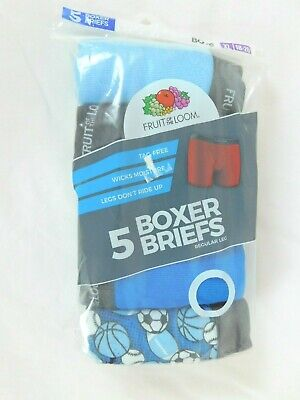 Boys Fruit of the Loom Boxer Briefs Pack of 5 Regular Leg Tag Free XL