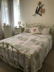 BED WHITE FRAME & MATTRESS exc condition