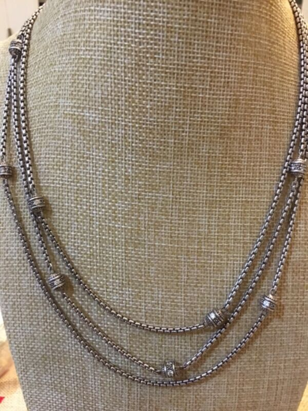 """Judith Ripka Sterling Silver 925 Tri Station Chain Necklace CZ 18"""" Length 55.59g"""